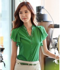 (หมดค่ะ)เสื้อเชิ้ตสีเขียว ผ้าชีฟองเนื้อดี ช่วงคอประดับลูกปัดมุก แขนระบาย ทรงสวยค่ะ