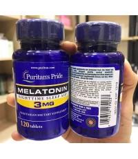 (Pre Order) Puritans Pride Melatonin 3mg. 120 เม็ด เมลาโทนินช่วยให้นอนหลับสบาย ชะลอความชรา