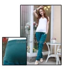กางเกงคนท้อง กางเกงขายาวคนท้อง กางเกงผ้าคนท้อง สำหรับใส่ทำงาน สีน้ำเงิน จากเกาหลี พร้อมส่ง
