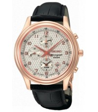 Seiko SNAC82P1 Classic Rose Gold Plated Chronograph Alarm With Leather Bracelet