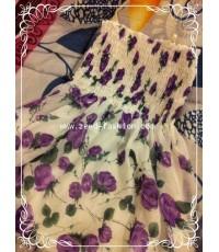 ชุดเดรสซีฟองสั้น งลายดอกไม้สีม่วง(พร้อมส่ง)