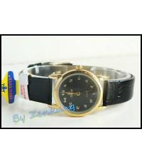 นาฬิกา Debor สายหนังสีดำ หน้าปัดดำ กรอบทอง หน้าปัดเลขไทย เรือนเล็กสวย