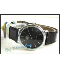 นาฬิกา Debor สายหนังสีดำ หน้าปัดดำ สวยดูดี หญิง-ชายใส่ได้ เรือนกลาง ๆ