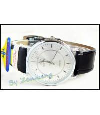 นาฬิกา Debor สายหนังสีดำ หน้าปัด Silver สวยดูดี หญิง-ชายใส่ได้ เรือนกลาง ๆ