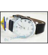 นาฬิกา Debor สายหนังสีดำ หน้าปัดขาว สวยดูดี เรือนกลาง ๆ