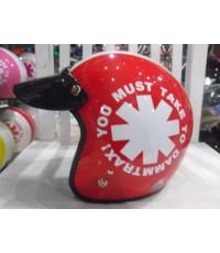 หมวกกันน็อคคลาสสิค Avex ลาย wheel สีแดง ขาว