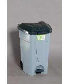 ถังขยะเหยียบมีล้อ 85 Lt สีเทา