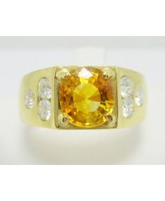 แหวน บุษราคัม ซีลอน  ฝังเพชร 6 เม็ด 0.48 กะรัต ทอง18K งานสวยมาก นน. 7.06 g