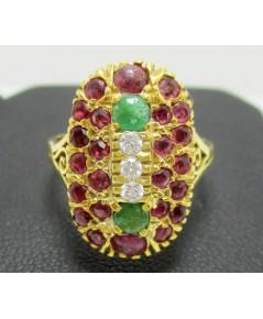 แหวน ทับทิม เจียร หน้าโล่ห์ ฝังมรกต เพชร 3 เม็ด 0.09 กะรัต ทอง90 งานเก่า หลุดจำนำ นน. 4.03 g