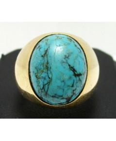 แหวน เทอควอยซ์ หลังเบี้ย ทรงมอญ ทอง90 งานเก่า หลุดจำนำ นน. 13.77 g
