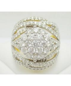 แหวน เพชรกระจุก 19/1.50 ct ฝังเพชร 8 แถว 127/1.90 ct ทอง90 งานสวยมาก นน. 12.55 g