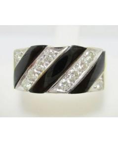 แหวน นิล 3 แถว ฝังเพชร 10 เม็ด 0.40 กะรัต ทอง90 งานสวยมาก นน. 6.39 g