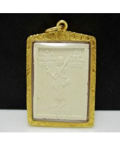 พระสิวลี หลังพญาเต่าเรือน หลวงพ่อเกษม วัดม่วง อ่างทอง เนื้อผง เลี่ยมทอง90 นน. 13.12 g