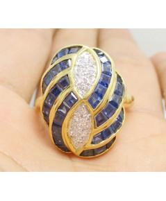 แหวน ไพลิน Princess หน้าโล่ห์ ฝังเพชรกุหลาบ 16 เม็ด 0.20 กะรัต ทอง90 งานสวยมาก นน. 8.67 g