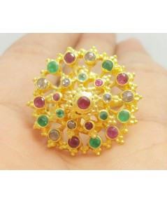 แหวน 3 สี ทับทิม มรกต เพชรซีก กระจุกพิกุล ทอง90 งานเก่า สวยมาก นน. 10.59 g