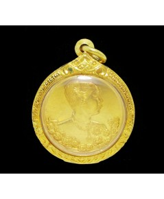 เหรียญทองคำ ปิยะมหาราชา หลังนารายณ์ทรงครุฑประทับราหู วัดแหลมแค ปี 2536 ตลับทอง ยกซุ้ม นน. 46.62 g