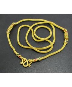 สร้อยคอ ทอง99.99 ลายแปดเสา คั่นทองลงยา ทองเก่า งานโบราณ นน. 30.38 g