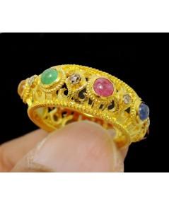 แหวน พิรอด นพเก้า ฉลุลาย ฝังเพชรซีกลูกโลก ทอง90 งานโบราณ สวยมาก นน. 5.24 g