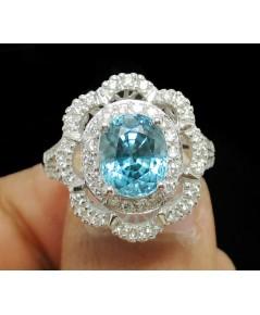 แหวน เพทาย เจียร ล้อมเพชร 62 เม็ด 0.58 กะรัต ทอง18Kขาว เพชรขาว พลอยสวย นน. 5.84 g
