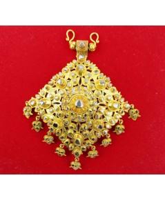 จี้ อุบะ + เข็มกลัด เพชรซีก 9 ยอด ฉลุลาย ตุ้งติ้ง ทอง90 แบบงานโบราณ สวยมาก นน. 46.02 g