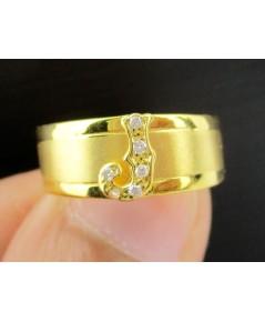 แหวน อักษร J ฝังเพชรเกสร 6 เม็ด 0.06 กะรัต ทอง90 งานเก่า หลุดจำนำ สวยมาก นน. 2.79 g