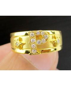 แหวน อักษร P ฝังเพชรเกสร 11 เม็ด 0.11 กะรัต ทอง90 งานเก่า หลุดจำนำ สวยมาก นน. 2.95 g