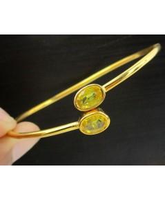 กำไล บุษราคัม เจียร ไขว้ 2 เม็ด ทอง90 งานสวยมาก นน. 5.50 g