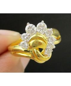 แหวน เพชรแถวโค้ง เพชร 8 เม็ด 0.50 กะรัต ทอง90 เพชรสวย เล่นไฟ วิ้ง วิ้ง นน. 5.64 g
