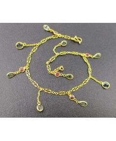 สร้อยข้อมือ พลอย 3 สี ระย้า ตุ้งติ้ง ทับทิม ไพลิน เขียวส่อง ทอง90 งานสวย น่ารักมาก นน. 3.03 g