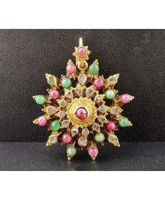 จี้ อุบะ 3 สี ทับทิม มรกต เพชรซีก ฉลุลาย ทอง90 แบบงานโบราณ สวยมาก นน. 12.74  g