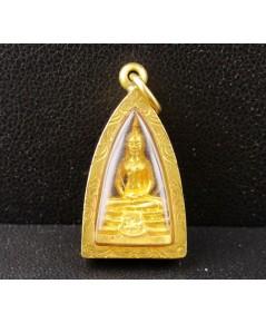 พระหลวงพ่อโสธร กะไหล่ทอง ลอยองค์ เลี่ยมทองเก่า นน. 3.38 g