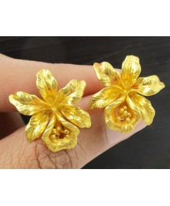 ต่างหู ดอกกล้วยไม้ ทอง90 งานเก่า หลุดจำนำ สวยมาก นน. 10.37 g