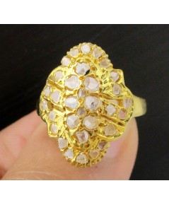 แหวน เพชรซีก กระจุก หน้าโล่ห์ ทอง90 งานเก่า หลุดจำนำ สวยมาก นน. 5.98 g
