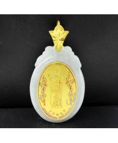 จี้ หยก หน้าทองคำ พระอวโลกิเตศวร โพธิสัตว์กวนอิม สวยน่าสะสม นน. 14.52 g