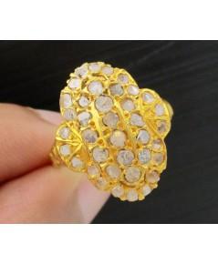 แหวน เพชรซีก กระจุก หน้าโล่ห์ ทอง90 งานเก่า หลุดจำนำ สวยมาก นน. 3.74 g