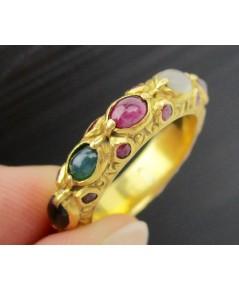 แหวน พิรอด นพเก้า ฝังทับทิม รอบวง ทอง90 งานโบราณ สวยมาก Size 52 นน. 6.42 g