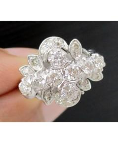 แหวน เพชรโบราณ 8/0.30 ct ฝังเพชรกุหลาบ 16/0.16 ct งานทองขาวโบราณ(ปาหะ) นน. 3.88 g