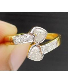 แหวน เพชร หัวใจ ไขว้ 2/0.40 ct  กะรัต ฝังเพชร 6/0.09 ct ทอง18K งานสวย น่ารักมาก นน. 2.44 g