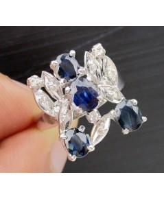 แหวน ไพลิน เจียร ฝังเพชรกุหลาบ 10 เม็ด 0.40 กะรัต งานทองขาวโบราณ(ปาหะ) นน. 3.78 g