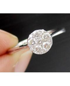 แหวน เพชรกระจุกกลม 11 เม็ด 0.27 กะรัต ทอง18Kขาว งานสวย น่ารักมาก นน. 2.60 g
