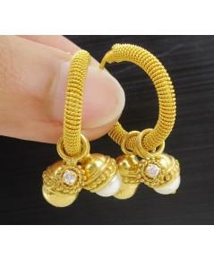 ต่างหู ห่วงทอง มุก เม็ดทอง ตุ้งติ้ง ฝังเพชร 2 เม็ด 0.08 กะรัต ทอง90 แบบงานโบราณ สวยมาก นน. 13.83 g
