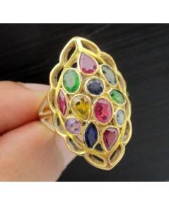 แหวน พลอยหลากสี กระจุกทรงมาคีย์ ทอง90 งานเก่า หลุดจำนำ สวยมาก นน. 5.46 g