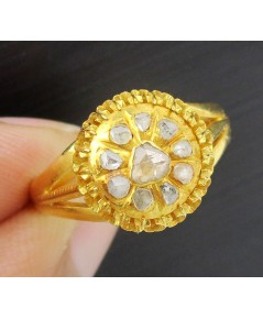 แหวน เพชรซีก กระจุกกลม ทอง90 งานเก่า หลุดจำนำ สวยมาก นน. 5.24 g