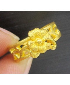 แหวน PRIMA GOLD ทอง24K ลายดอกไม้ ฉลุลาย งานสวย น่ารักมาก นน. 5.92 g