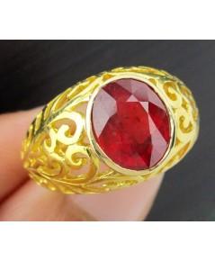 แหวน ทับทิม เจียร 3.50 กะรัต ฉลุลาย ทอง90 งานสวยมาก นน. 7.86 g