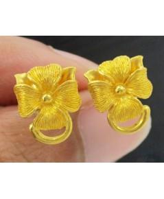ต่างหู Prima Gold ทอง24K รูปดอกไม้ งานสวย น่ารักมาก นน. 4.06 g