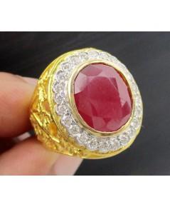 แหวน ทับทิม เจียร ล้อมเพชร 24 เม็ด 0.48 กะรัต ฉลุลาย ตำลึง ทอง90 งานสวยมาก นน. 9.56 g