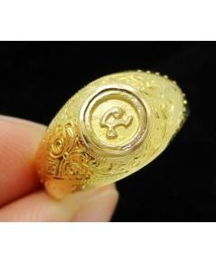 แหวน หัวนะโม ทองคำ แกะลาย ทอง90 แบบงานโบราณ สวยมาก Size 55 นน. 5.20 g