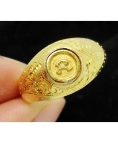 แหวน หัวนะโม ทองคำ แกะลาย ทอง90 แบบงานโบราณ สวยมาก Size 56 นน. 5.14 g