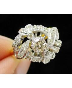 แหวน เพชรชูโบราณ 1/0.18 ct ฝังเพชรกุหลาบ 24/0.24 ct กะรัต ทองK 2 สี งานเก่า หลุดจำนำ นน. 2.92 g